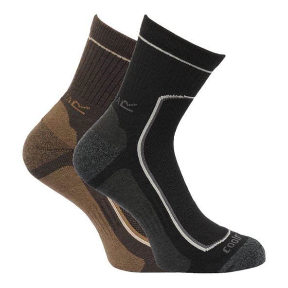 Regatta Active 2 Pair Mens Socks Black/Green