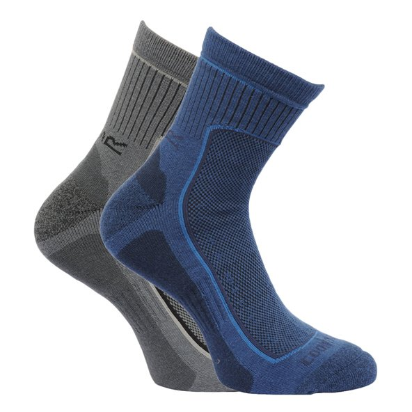 Regatta Active 2 Pair Mens Socks Blu/Gry