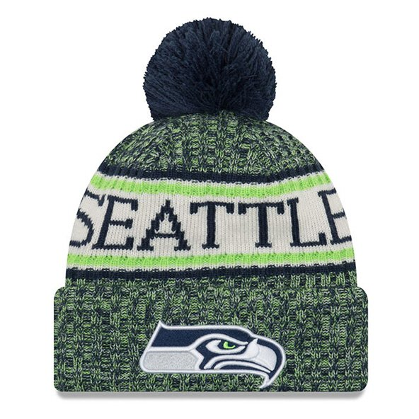 New Era Seahawks Bobble Knit Hat Blue O/S
