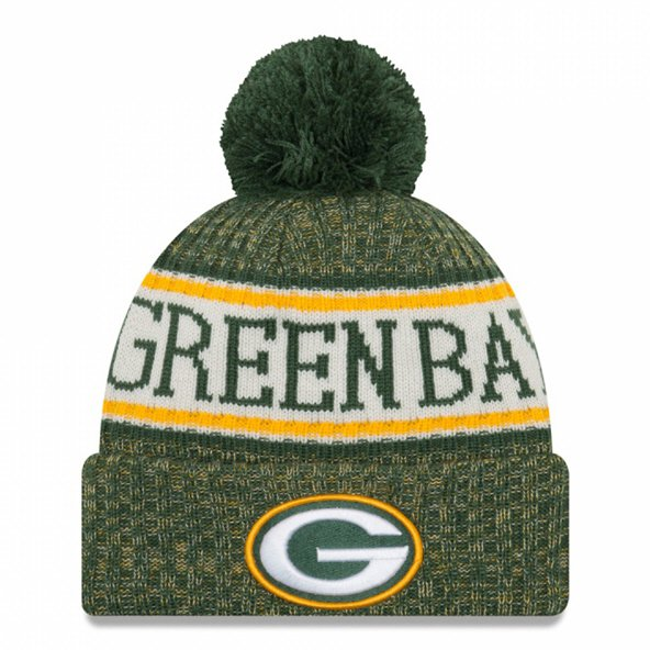 New Era Packers Bobble Knit Hat Green O/S
