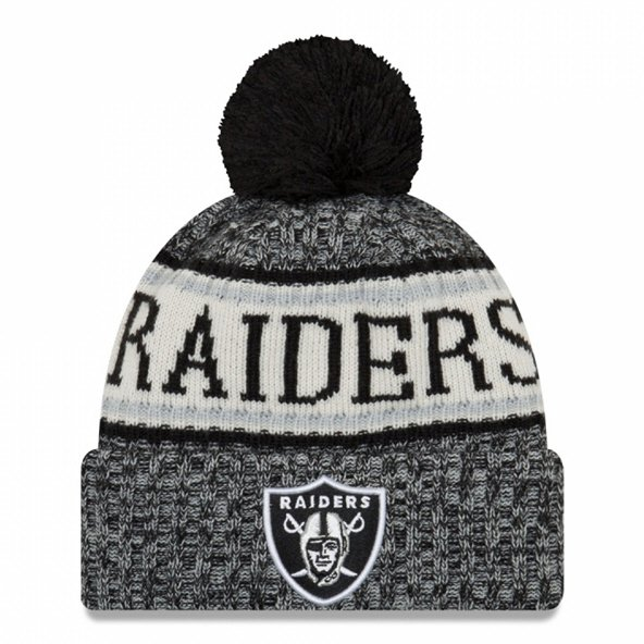 63fa3d87fb2 New Era Raiders Bobble Knit Hat Black O S