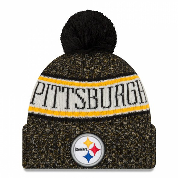 New Era Steelers Bobble Knit Hat Black O/S