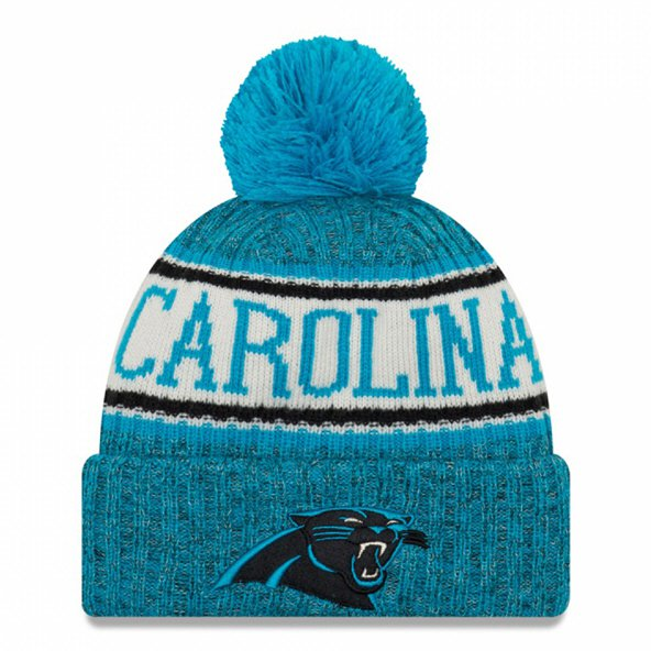 New Era Panthers Bobble Knit Hat Blue O/S