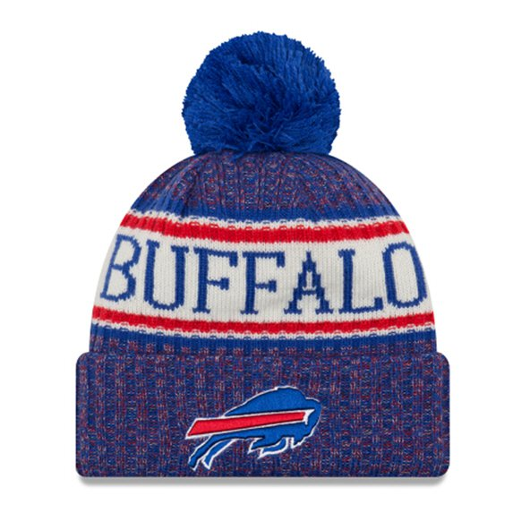 New Era Bills Bobble Knit Hat Blue O/S