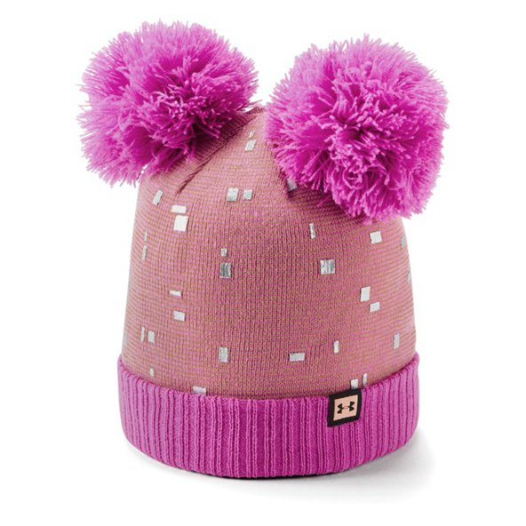 Under Armour® Double Pom Girls' Beanie, Pink