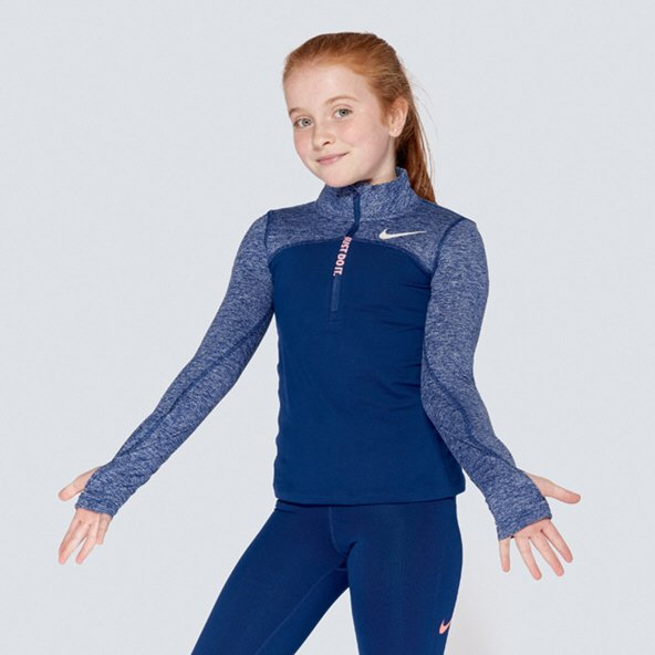 Nike Dry Element Girls' ½ Zip Running Top, Navy