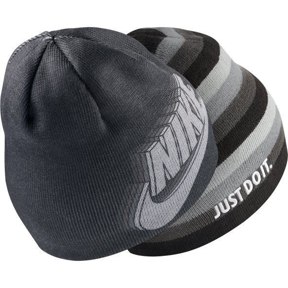 Nike Kids' Reversible Training Beanie, Black/Grey