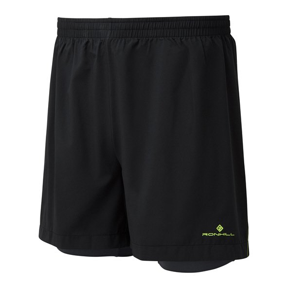 "Ronhill Stride Twin 5"" Mens Shorts Black"