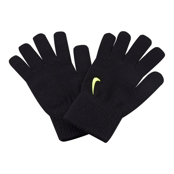 Nike Youth Swoosh Knit Glove Black/Volt