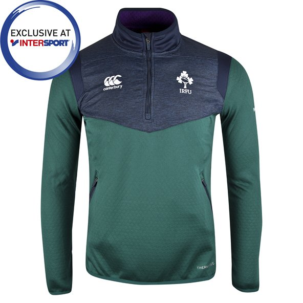 Canterbury IRFU 2019 ThermoReg Kids' ¼ Zip Top, Green