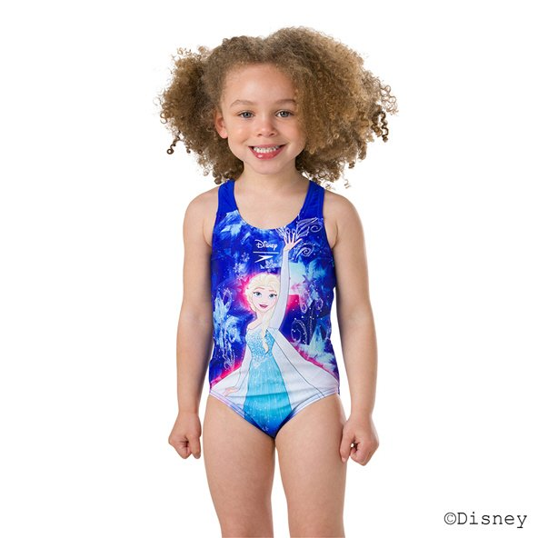 Speedo Frozen Elsa Digital 1 Piece Swimsuit Blue/Turquoise