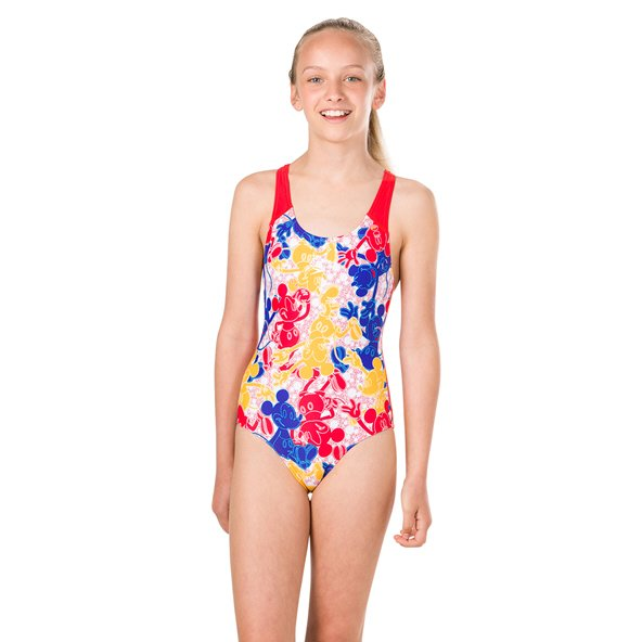 Speedo Disney Mickey Mouse Print Girls' Swimsuit Blue