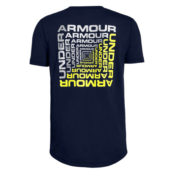 Under Armour® Back Box Graphic Boys Short Sleeve T-Shirt Navy/Silver
