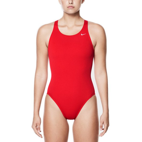 Nike Poly Solid Back One Piece Women's Swimsuit Red