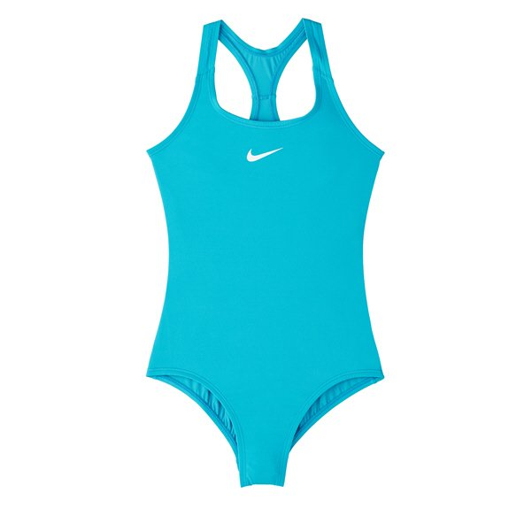Nike Solid Racerback One Piece Girls' Swimsuit, Blue