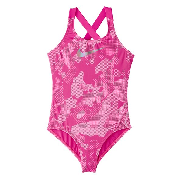 Nike Optic Crossback One Piece Girls' Swimsuit Fuchsia