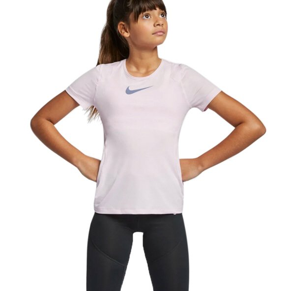 Nike Pro Girls Short Sleeve Top Pink