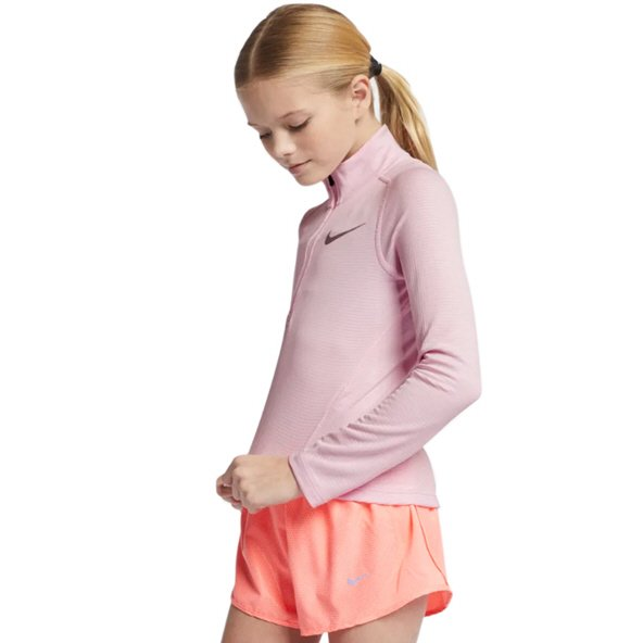 Nike Run Happy Zip Girls Long Sleeve Top Pink/Silver