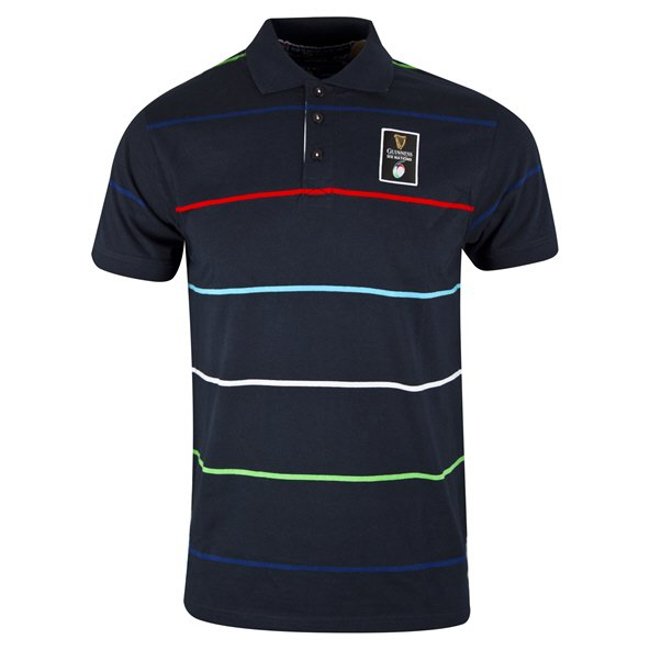 6 Nations 2019 Striped Men's Polo T-Shirt Navy