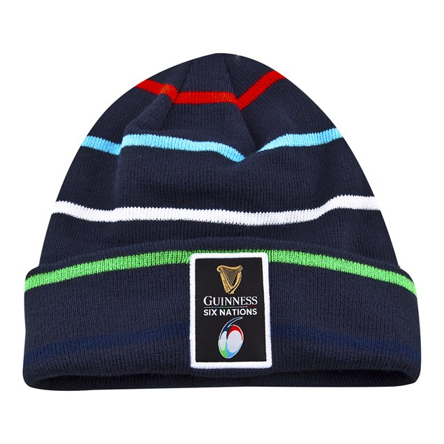 5c8de3ccee7 6 Nations 19 Striped Bobble Beanie Navy ...