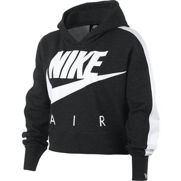 Nike Swoosh Air Cropped Overhead Girls' Hoody Black/Heather