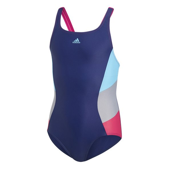 adidas Fit 3 Stripe Colourblock Girls' Swimsuit Blue/Cyan