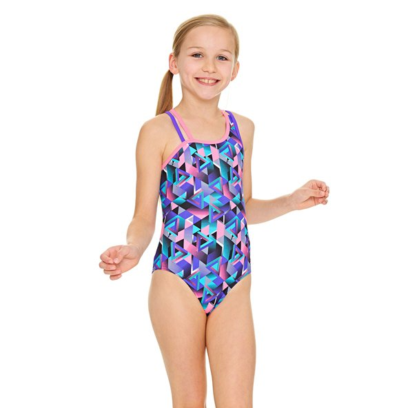 Zoggs® Kitch Chaos Crossback Girls' Swimsuit, Purple