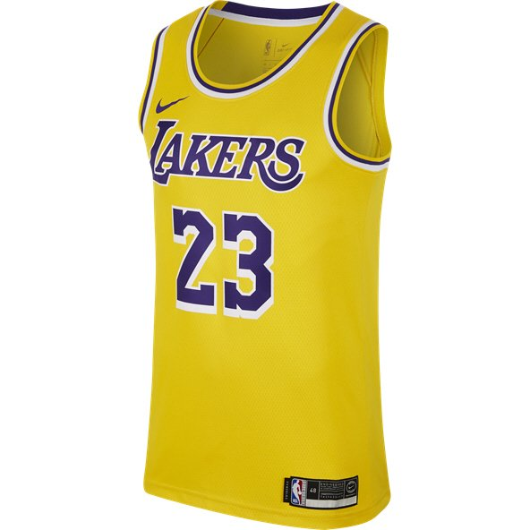 Nike Lakers James 23 Jersey Yellow