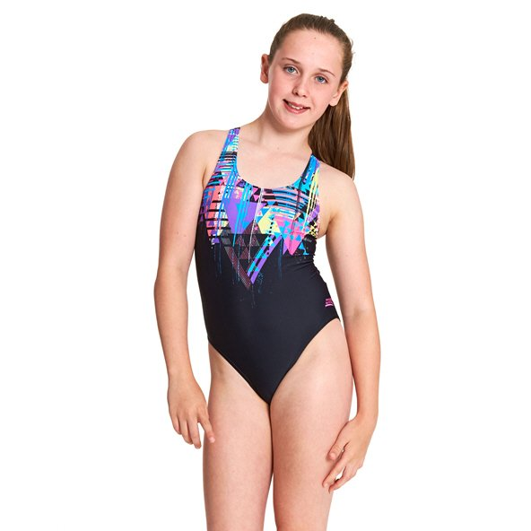 Zoggs® Labrynth Rowleeback Girls' Swimsuit Black