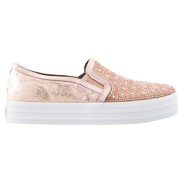 Skechers Double Up Girls' Trainer, Rose Gold