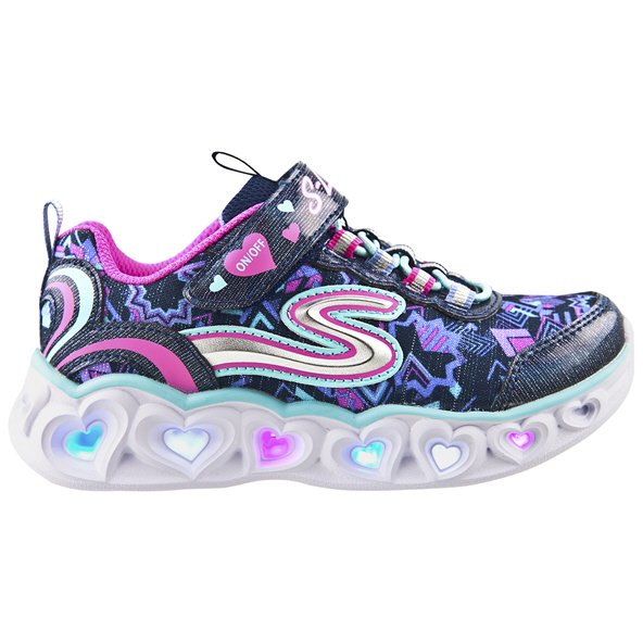 Skechers Heart Lights Junior Girls' Trainer, Navy