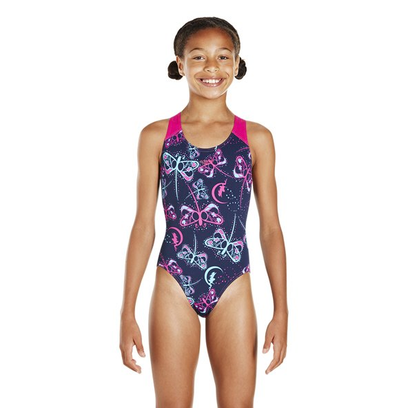 Speedo Allover Splashback Girls' Swimsuit, Navy