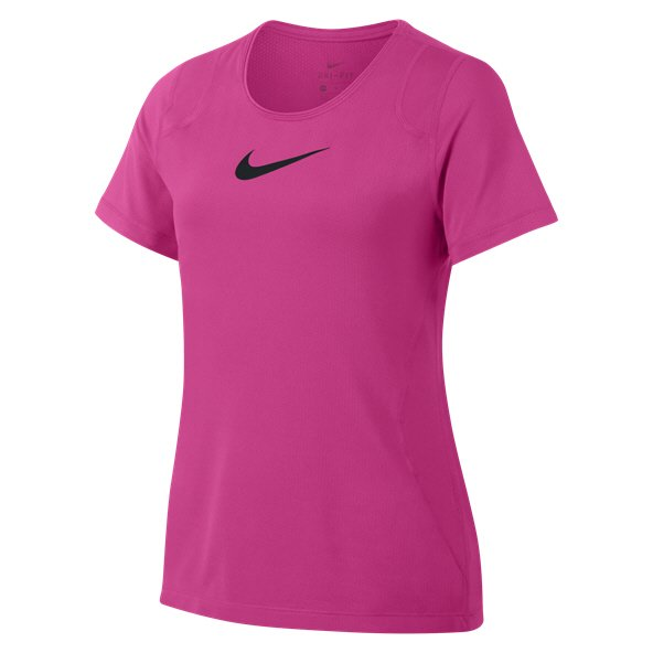 Nike Pro Girls' Short Sleeve T-Shirt, Pink