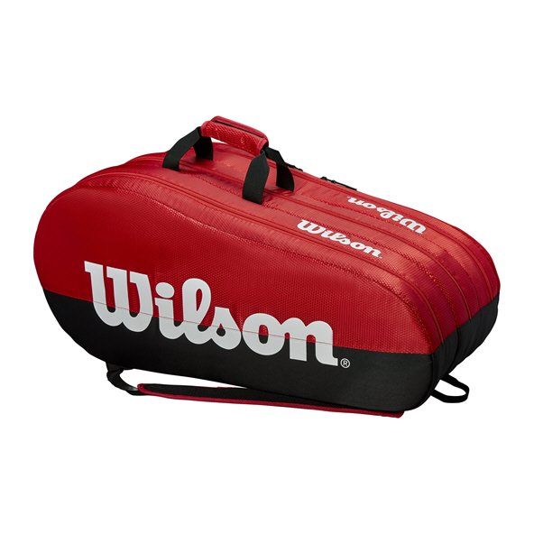 Wilson Team 3 Compartment 15 Racket Bag, Red/Black