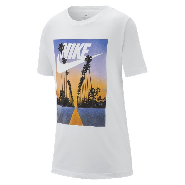 Nike Swoosh Palm Tree Boys' T-Shirt, White