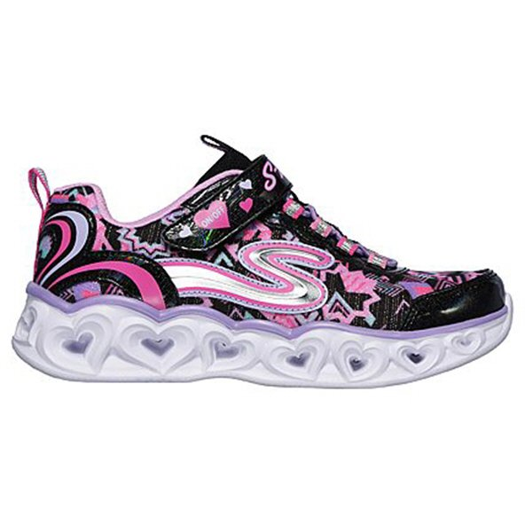 Skechers Heart Lights Junior Girls' Trainer, Black