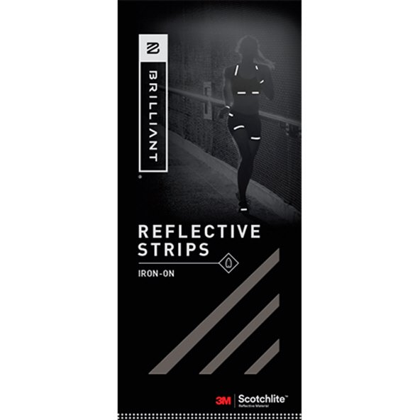 Brilliant Reflective Strips Iron On Blk