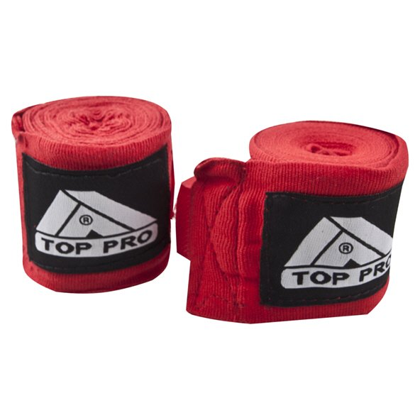 Top Pro Elastic Hand Wraps - 255cm, Red