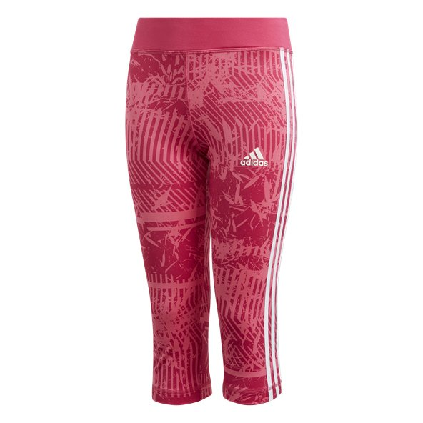 adidas Equip 3-Stripe Girls' ¾ Tight, Pink