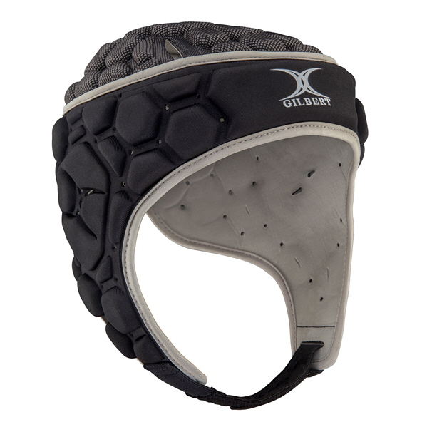 Gilbert Falcon 200 Rugby Headgear, Black Silver
