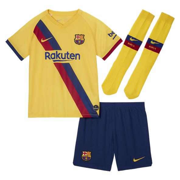Nike FC Barcelona 2019/20 Kids' Away Kit, Yellow