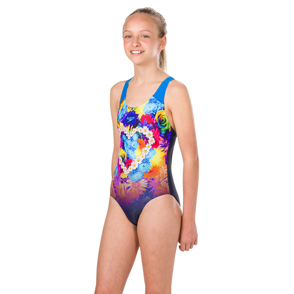 Speedo HippyHop Splash Swimsuit Girl Nvy