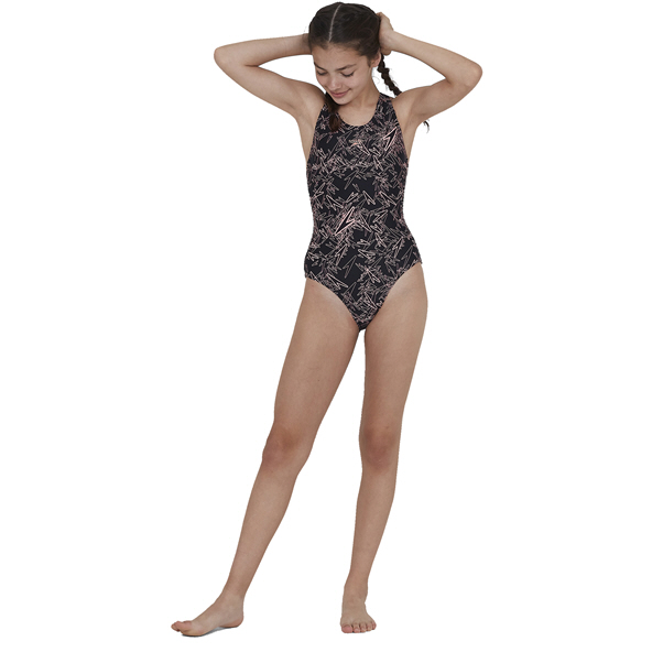 Speedo Boom Splashback Girls' Swimsuit, Black