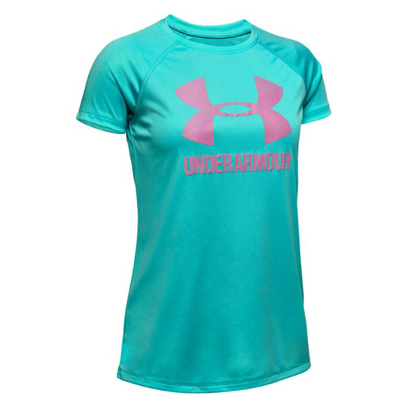 UA Big Logo Solid Short Sleeve Girls' T-Shirt  Blue