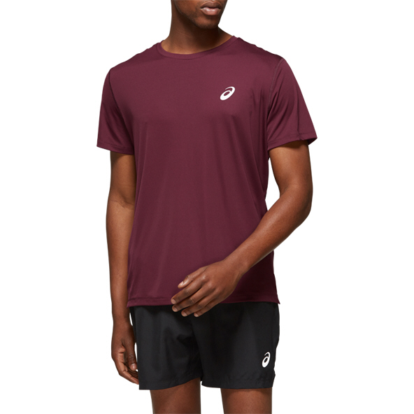 Asics Silver Short Sleeve Men's Top Red