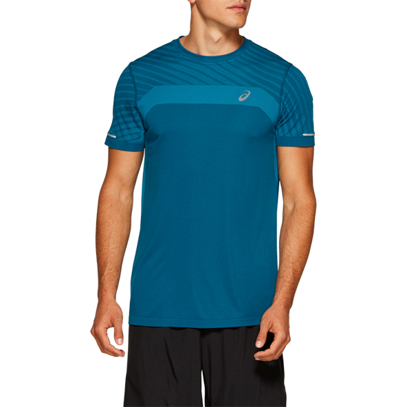 Asics Seamless Short Sleeve Texture Men's Top Blue