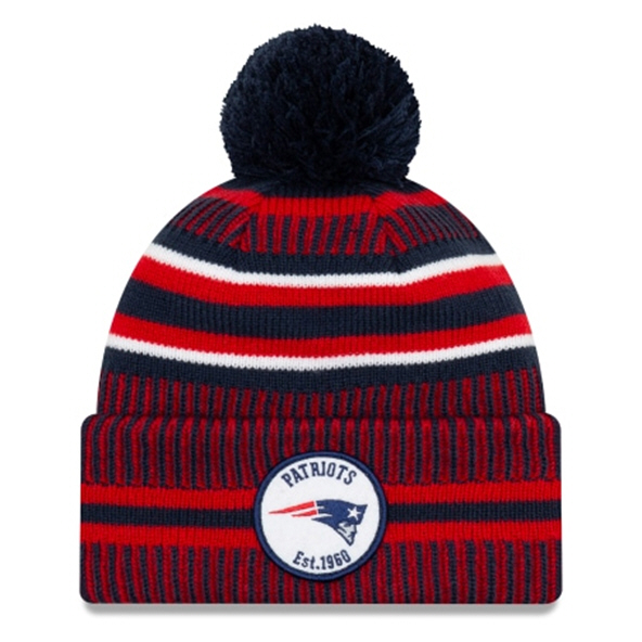 New Era Patriots Onfield Hm Beanie Blue