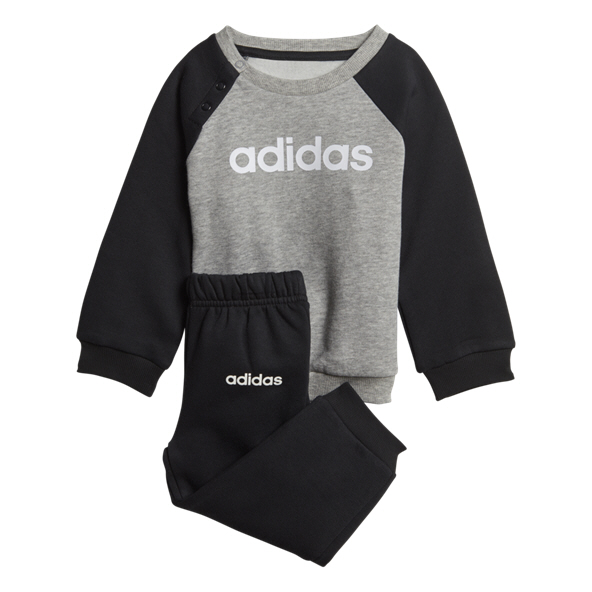 adidas Fleece Infant Boys' Tracksuit, Grey/Black