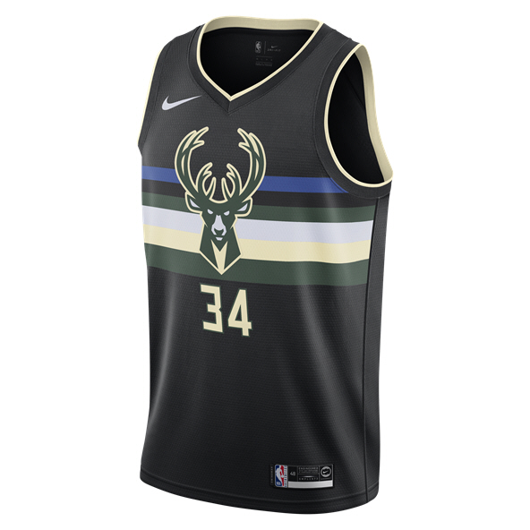 Nike Milwaukee Bucks Jersey - Antetokounmpo 34, Black