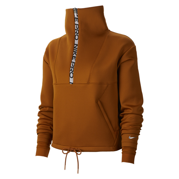Nike Cropped Mock Neck Half Zip Women's Top Orange